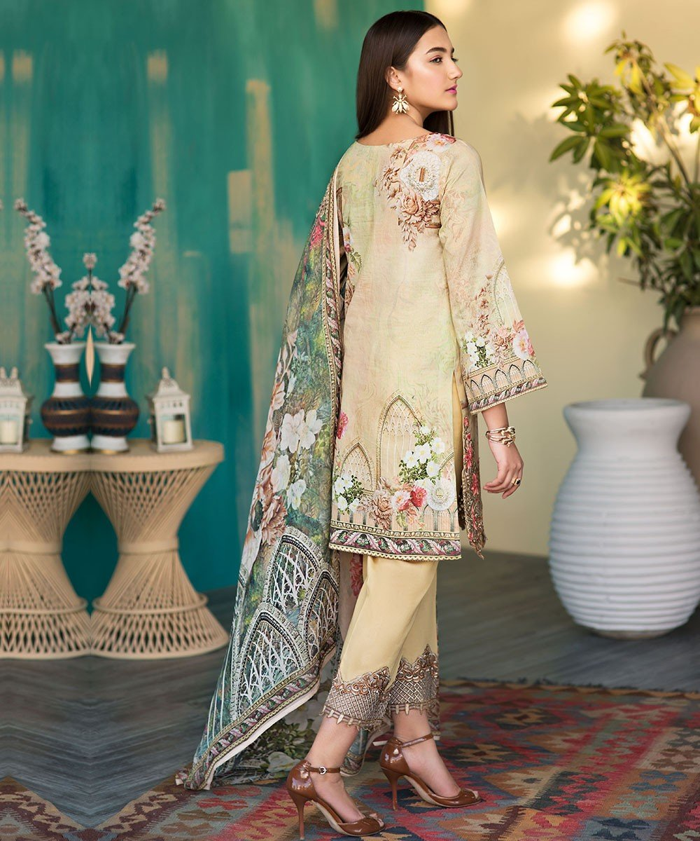 Arena by Mohagni Lawn 2019 suit AR-10 - Embroidered Beige Lawn Kameez, dyed bottom and digital dupatta