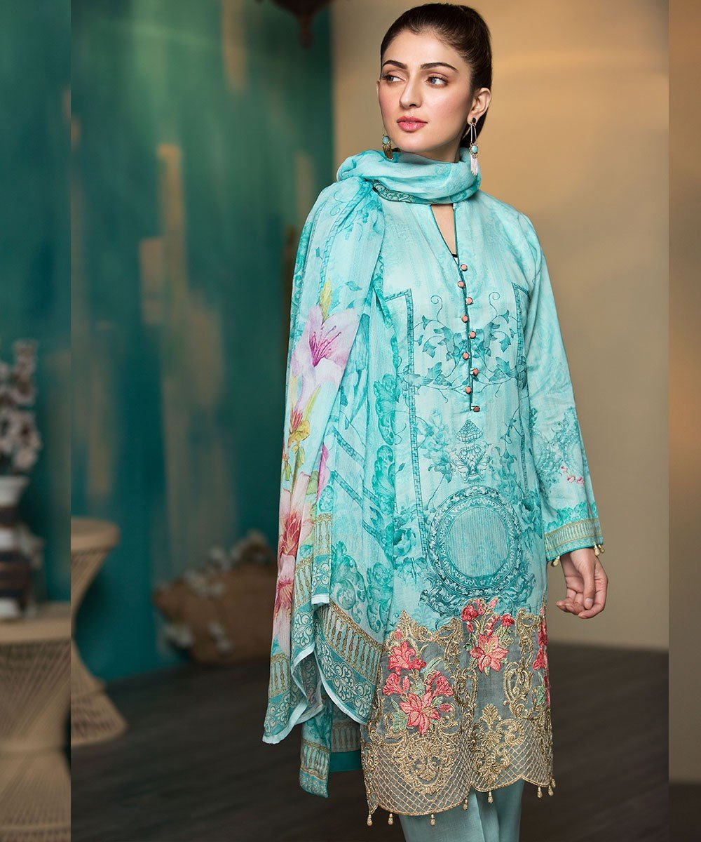 Mohagni Arena Lawn 2019 suit AR-12 - Embroidered Ferozi Lawn Kameez with digital dupatta