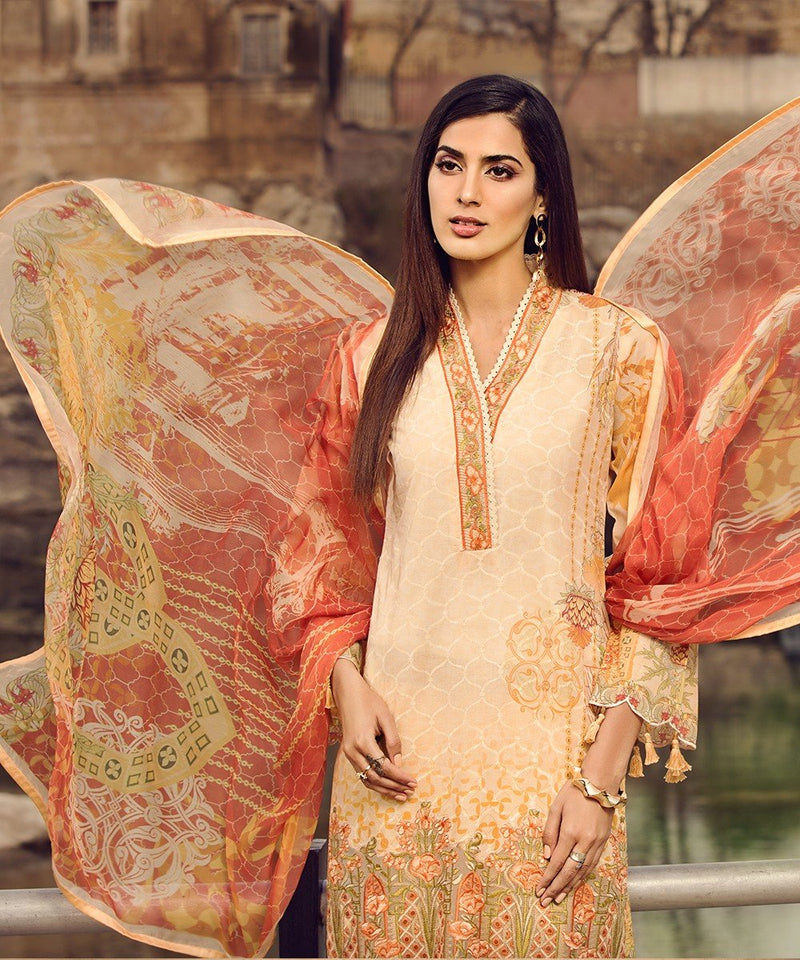 Mohagni Summer Lawn Vol-2 suit 03 - Embroidered Peach Lawn Kameez, dyed bottom and digital chiffon dupatta