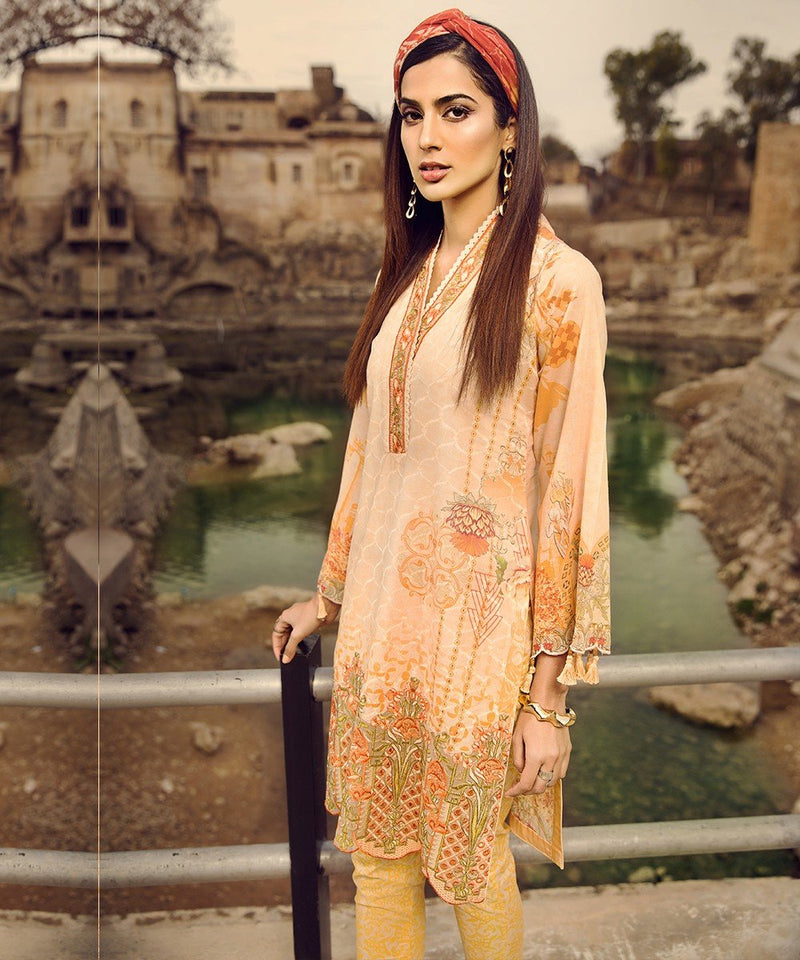Mohagni Summer Lawn Vol-2 suit 03 - Printed Lawn Kameez with Patches, sleeves with patches and chiffon dupatta