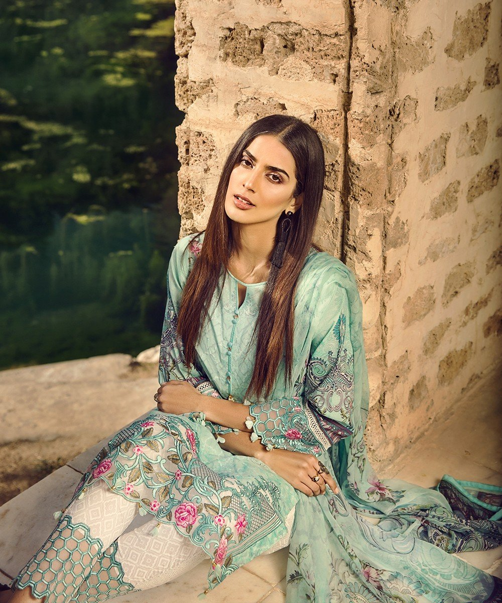Mohagni Summer Lawn Vol-2 2019suit 06 - Embroidered Mint Lawn Kameez with digital chiffon dupatta