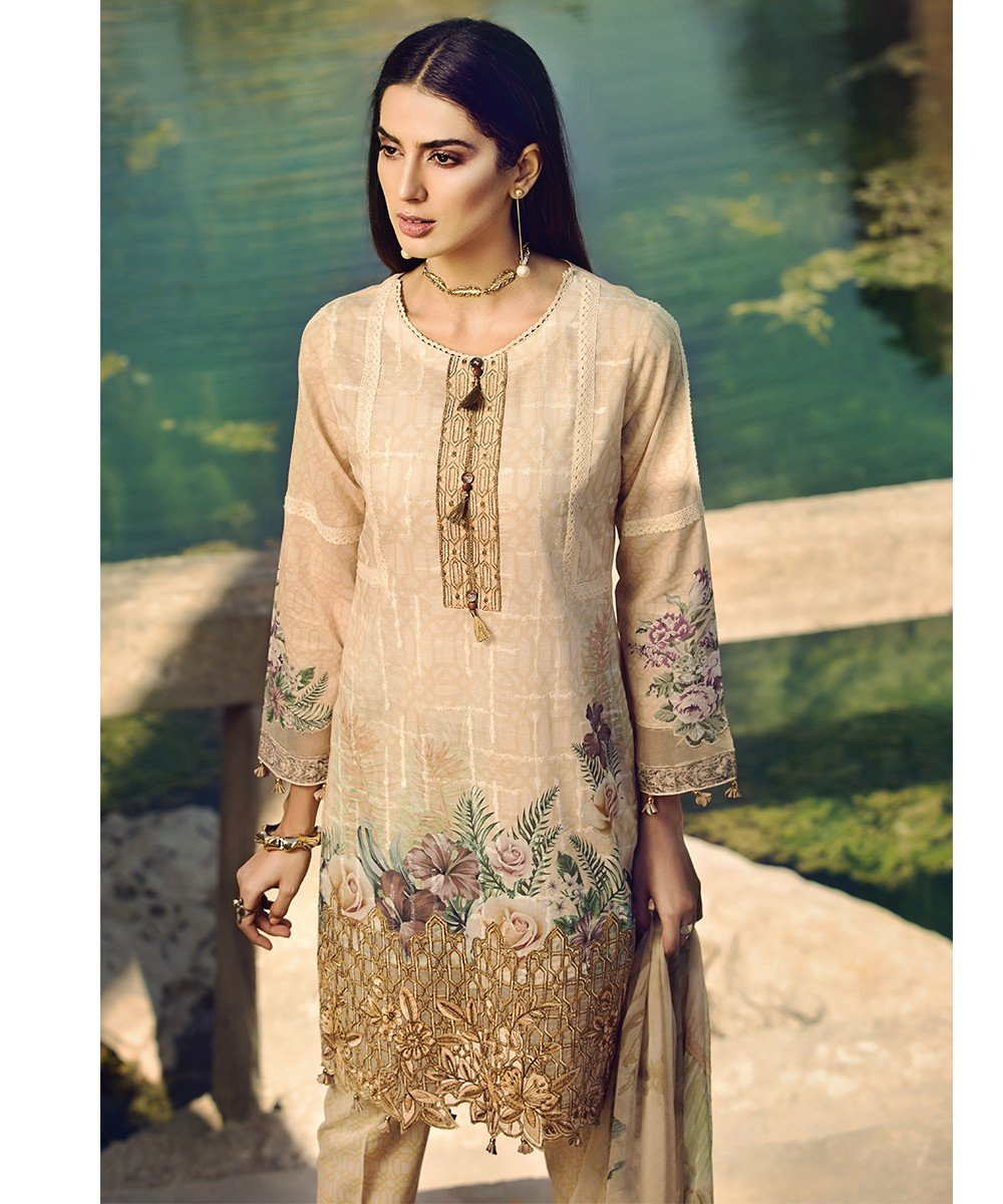 b47a99d62e Mohagni Luxury Lawn Vol-2 2019 suit 10 - Embroidered/Printed Kameez, dyed