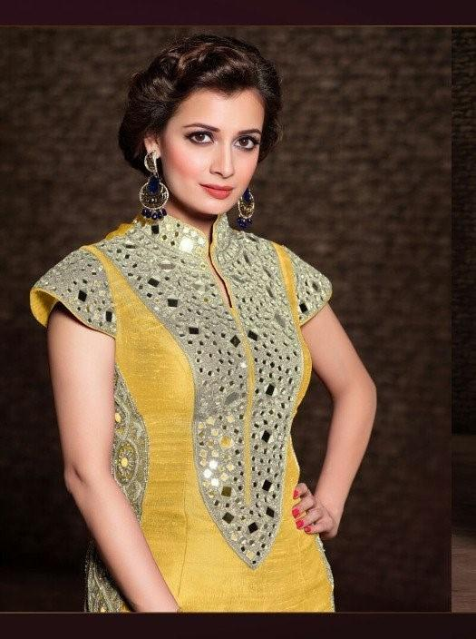 Mohini Princess Yellow suit 21004 - Mirror Effect Yellow banarsi silk kameez with border chiffon dupatta