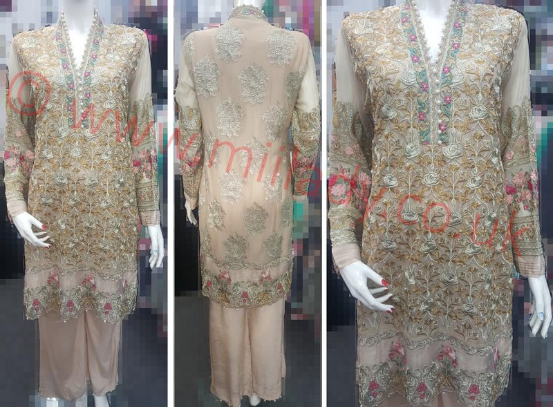 Miilady Fancy Stitched Party Wear suit - Gold Colour embroidered Net Kameez