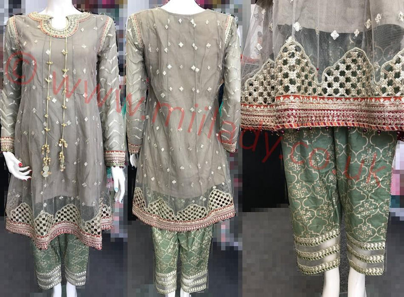 Miilady Fancy Stitched suit MF-0829 - Grey Embroidered Party Salwar kameez with tilla work at front and back