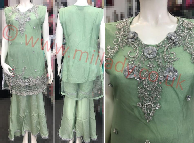 Miilady Fancy Stitched suit MF-0831 - Hand Worked Net Kameez with Sharara Style Trouser