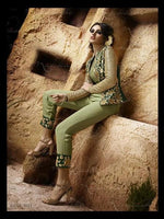 Nakkashi Immortal Mint Green suit 3027 - Embroidered Georgette Shirt with embellished jacket with viscose silk bottom