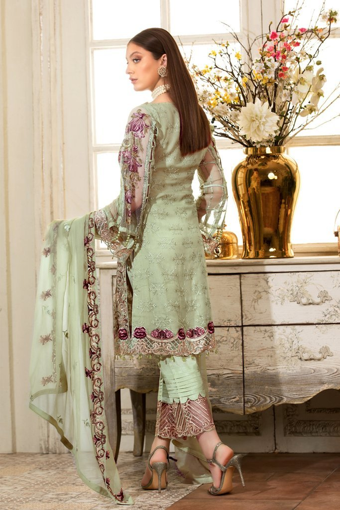 Ramsha Rangoon Vol-4 2019 suit D-411 - Embroidered chiffon shirt with embellished dupatta