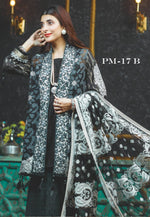 Rang Rasiya Formal Festive 2018 suit PM17B - Embroidered Black Kameez, printed kameez and embroidered Net dupatta