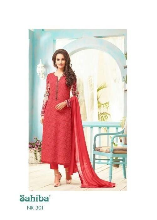 Sahiba Nour Georgette Red suit NR-301