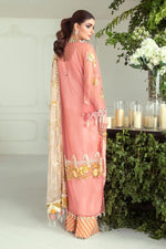 Sana Safinaz Festive NURA 2020 E201-001B-CJ - Embroidered Tulle Net Pink yellow shirt with embroidered net dupatta