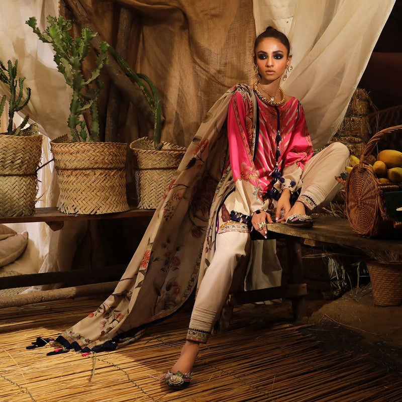 Sana Safinaz Mahay Lawn 2019 - H191-003B - Printed Lawn Shirt, dyed bottom and lawn dupatta
