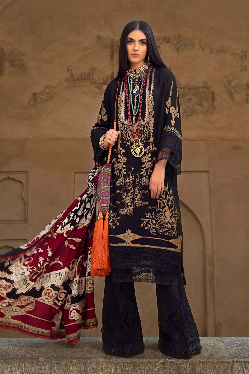 Sana Safinaz Winter 2020 H202-008A-CG with printed linen dupatta