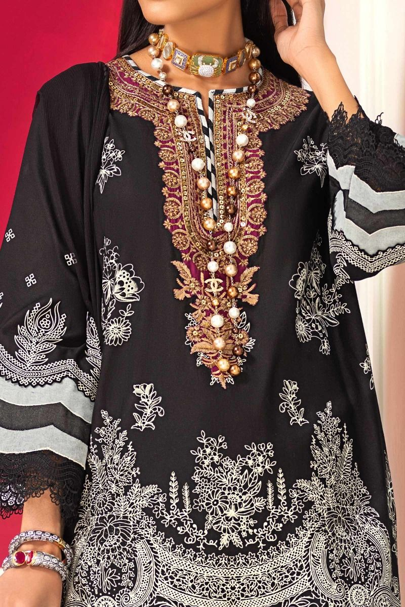 Sana Safinaz Muzlin  M203-001A-BI - Black Printed Cotton Shirt with printed silver chiffon dupatta