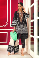 Sana Safinaz Winter Muzlin 2020 M203-001A-BI - Printed Black colour cotton satin shirt with embroidered neckline