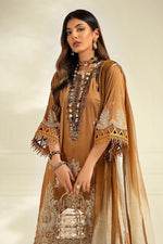 Sana Safinaz Muzlin M203-001A-BI - Mustard Cotton Printed Shirt, embroidered neckline and printed silver chiffon dupatta