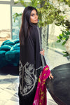 Sana Safinaz Muzlin  2020 suit M201-013A-Aj - Embroidered black lawn shirt with chiffon kameez