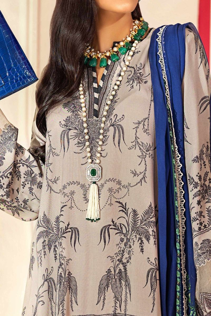 Sana Safinaz Muzlin 2020 suit M203-005A - Embroidered pigeon grey linen shirt with sliver chiffon dupatta