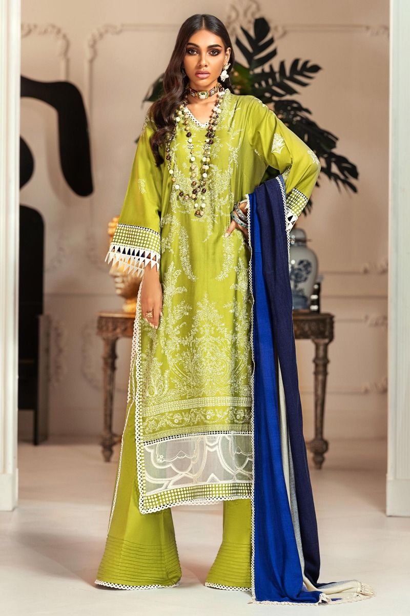 Sana Safinaz Winter Muzlin 2020 Lime Cotton Satin suit M203-18B-BO