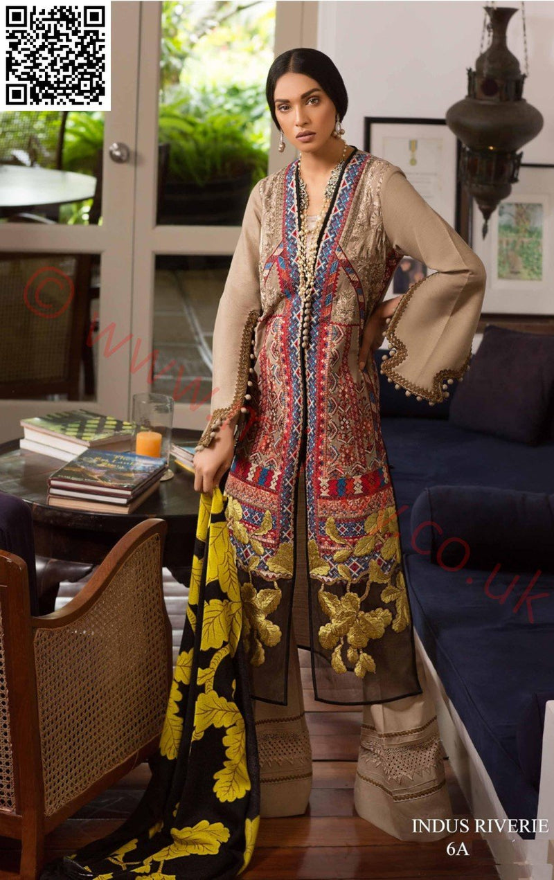 Sana Safinaz Winter Shawl 2018 suit 06A - Sindhi Inspired embroidered kameez and printed shawl