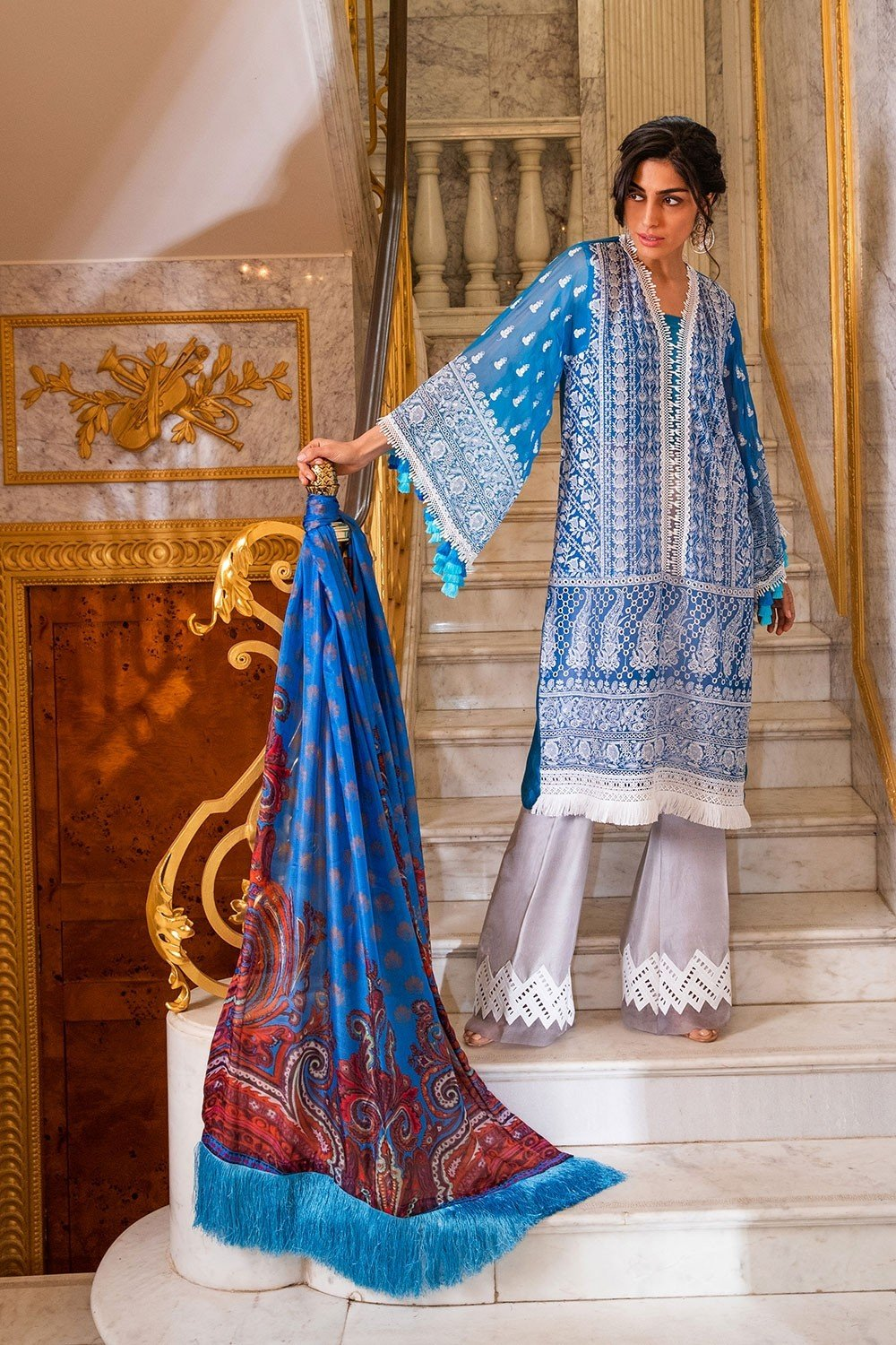 Sobia Nazir Eid Collection 2019 suit 5B - Embroidered Royal Blue Chiffon Kameez, silk dupatta and dyed bottom
