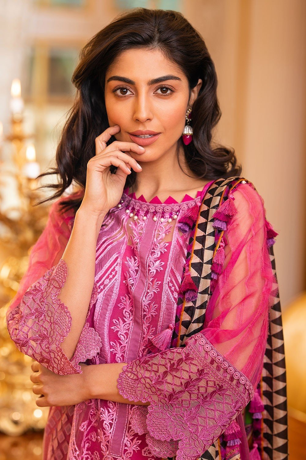 Sobia Nazir Eid Collection suit 7A - Embroidered Net Pink Kameez, printed silk dupatta and dyed trouser