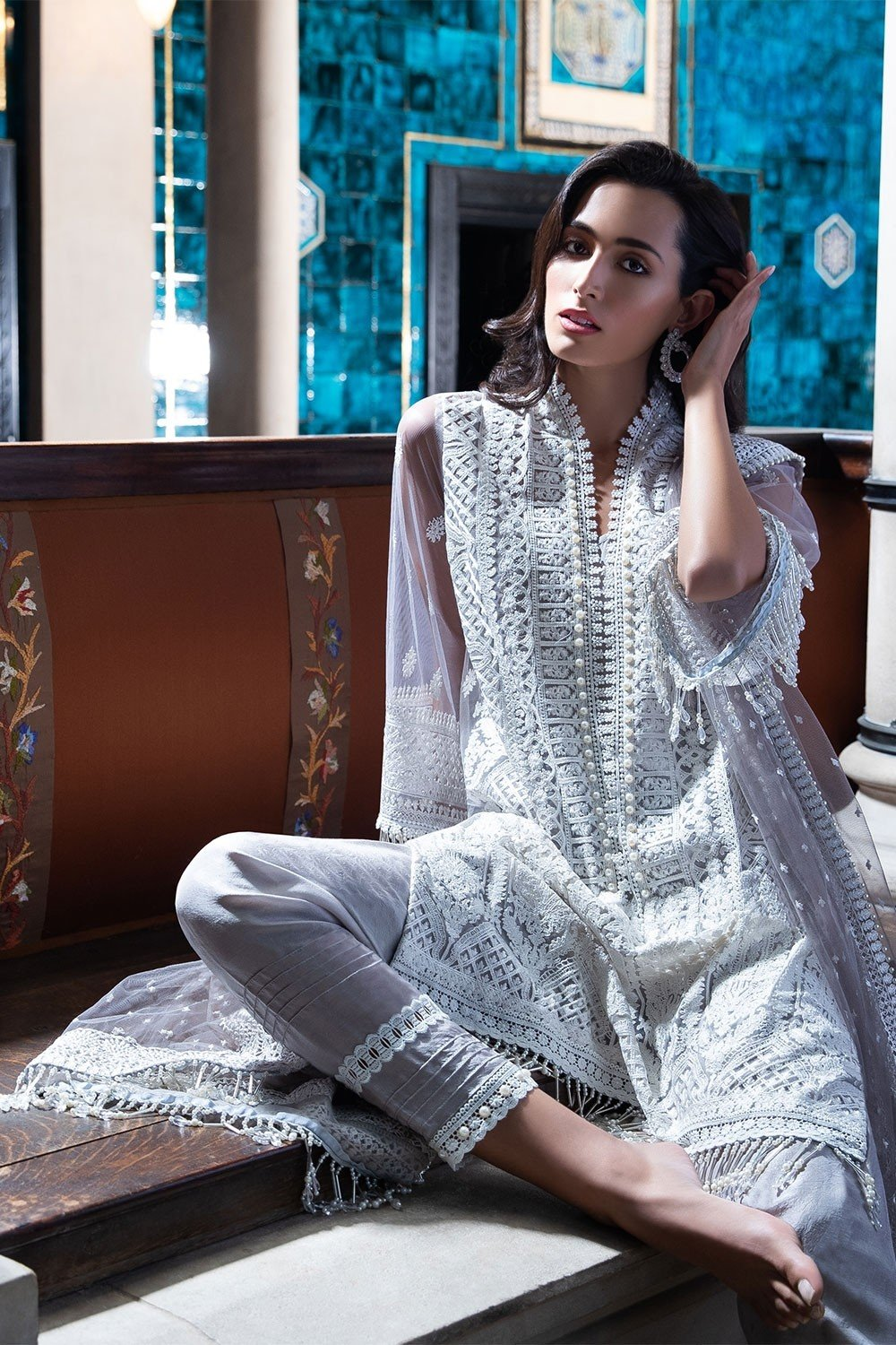 Sobia Nazir Festive Collection 2019 design 2B - Embroidered Net Suit