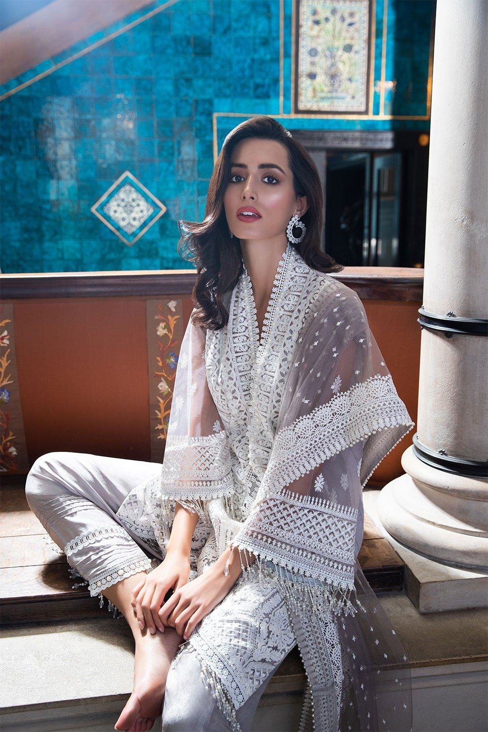 Sobia Nazir Festive Collection 2019 design 2B - Embroidered White Net shirt, dyed viscose bottom and embroidered net dupatta