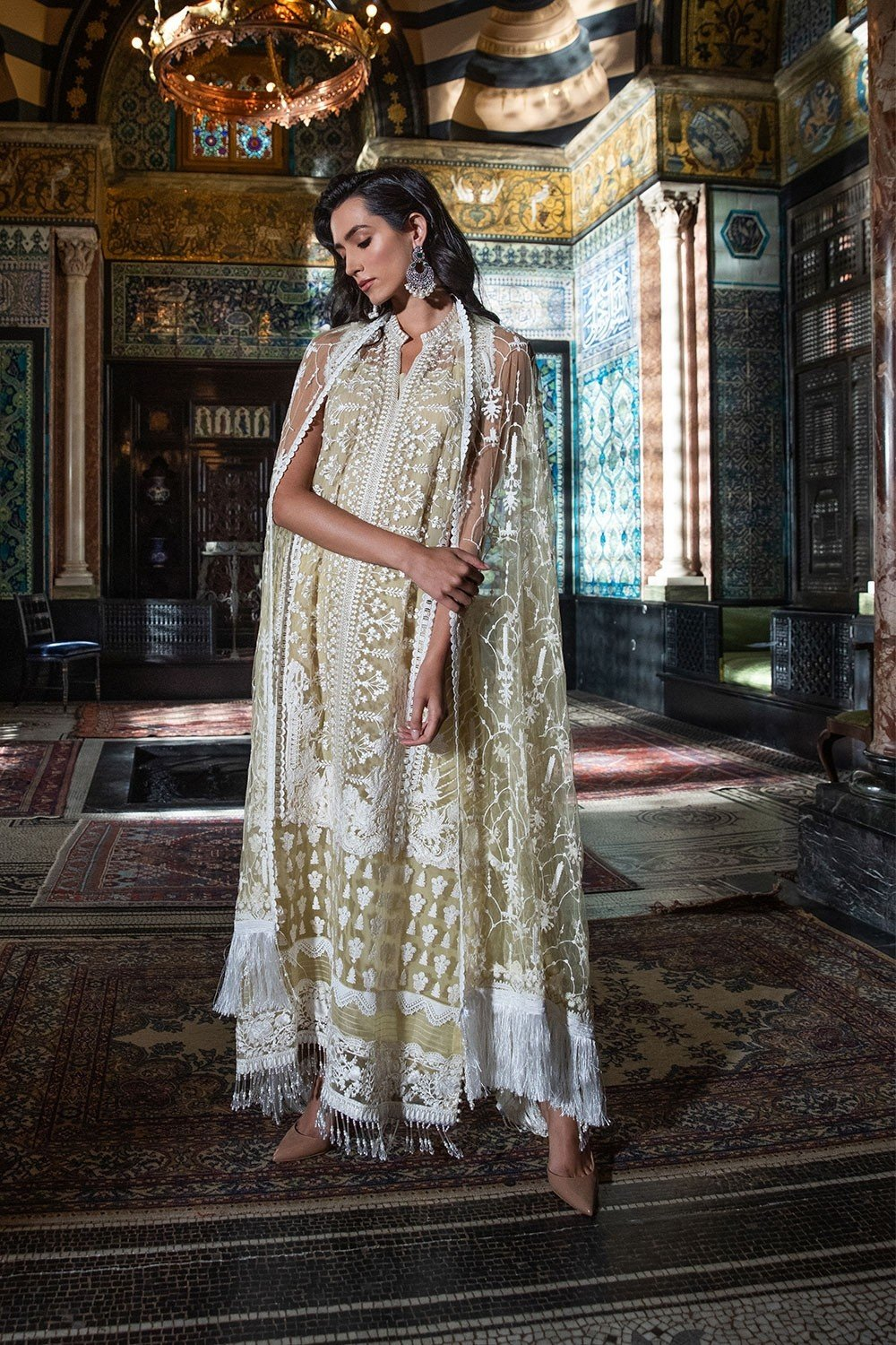 Sobia Nazir Festive Collection 2019 design 6A - Embroidered lime net shirt with embroidered net dupatta