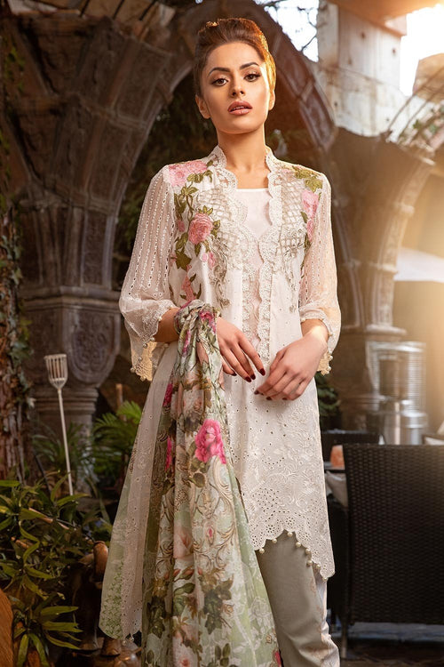 Sobia Nazir Lawn Vol-2 2018 Design 2B - Embroidered White Kameez with Printed Silk Dupatta