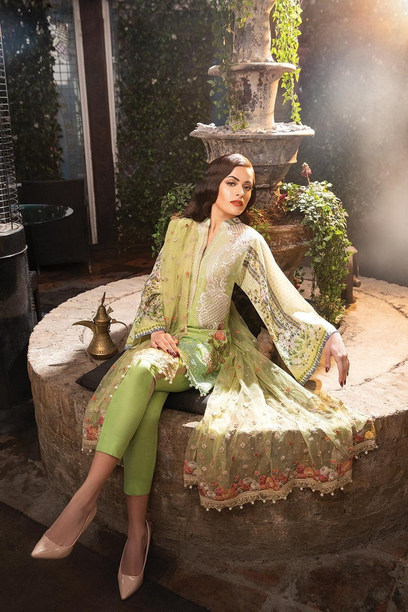 Sobia Nazir Lawn Vol-2 2018 suit D#5A - Embroidered Green Embroidered Kameez with Net Dupatta