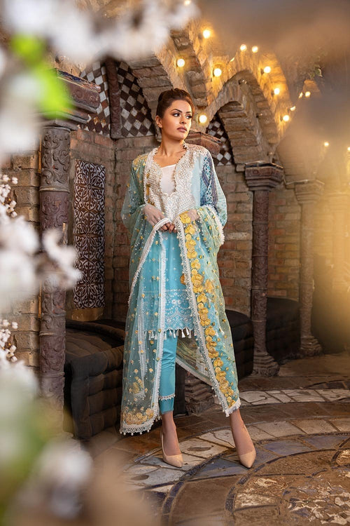 Sobia Nazir Lawn Vol-2 2018 suit D#5B - Embroidered Net Dupatta with Ferozi Lawn Kameez