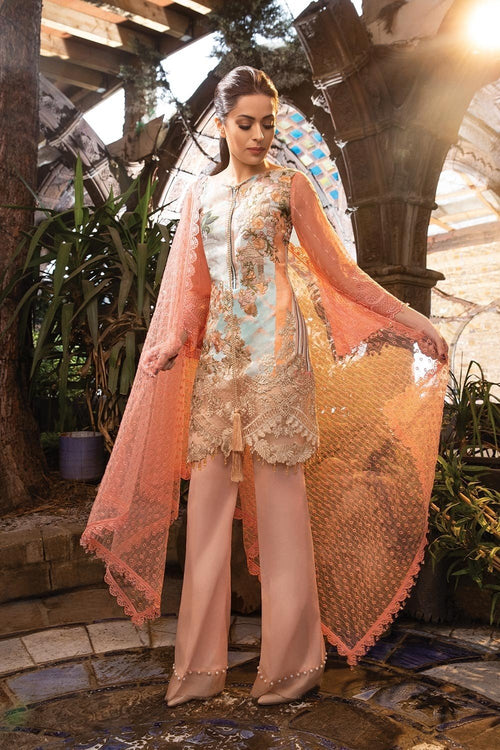 Sobia Nazir Lawn Vol-2 2018 suit D#6A - Pink Lawn Kameez with Embroidered Net Dupatta