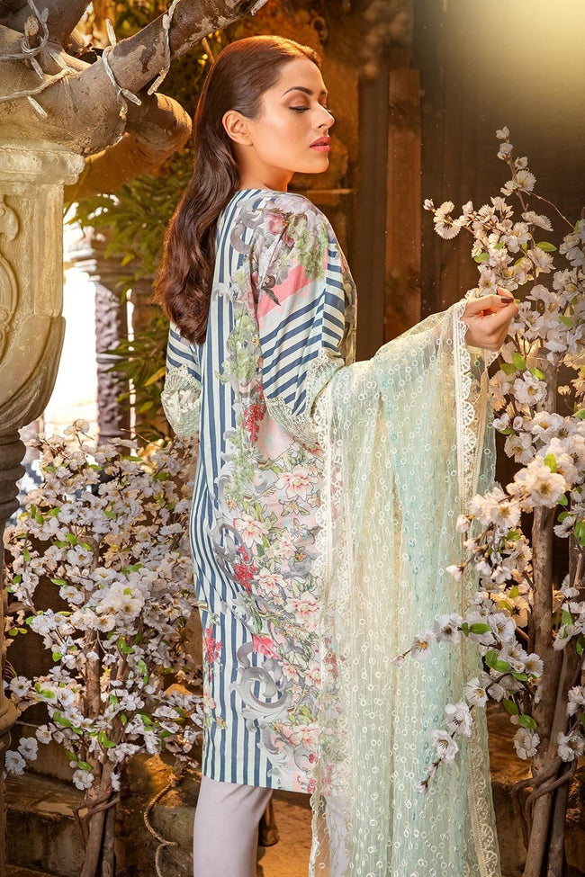 Sobia Nazir Lawn Vol-2 2018 suit D#6B - Printed Kameez Back with Embroidered Net Dupatta