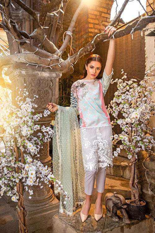 Sobia Nazir Lawn Vol-2 2018 suit D#6B - Embroidered Lawn Kameez with embroidered Net Dupatta