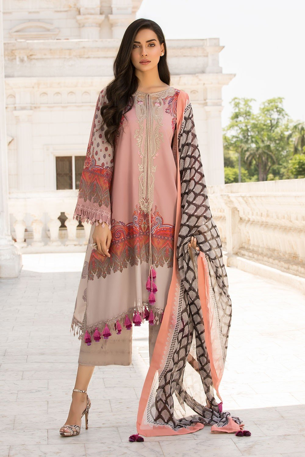 48edacf6cb Sobia Nazir Vital Lawn suit VT19-2A - Embroidered pink/beige lawn shirt with
