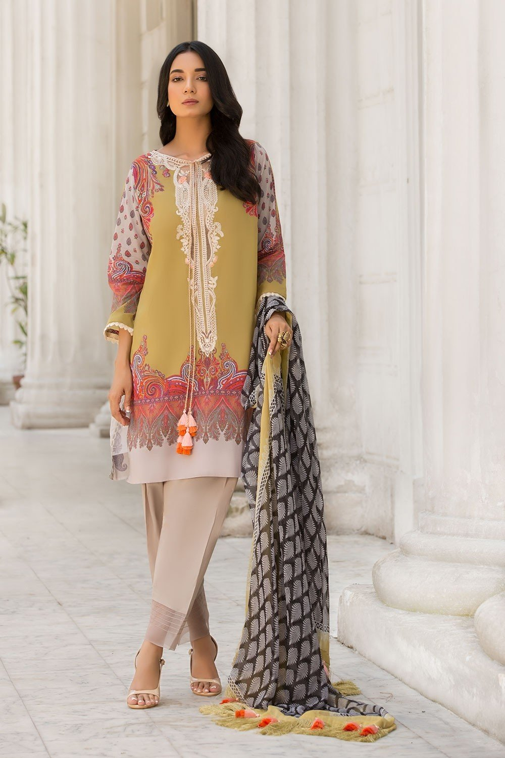 ffb64c763b Sobia Nazir Vital Summer 2019 suit 2B - Embroidered/Printed mustard lawn  kameez with blended
