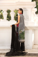 Sobia Nazir Vital 2019 suit VT19-4A - Embroidered/Printed lawn black shirt, dyed bottom and sequenced crinkle chiffon dupatta