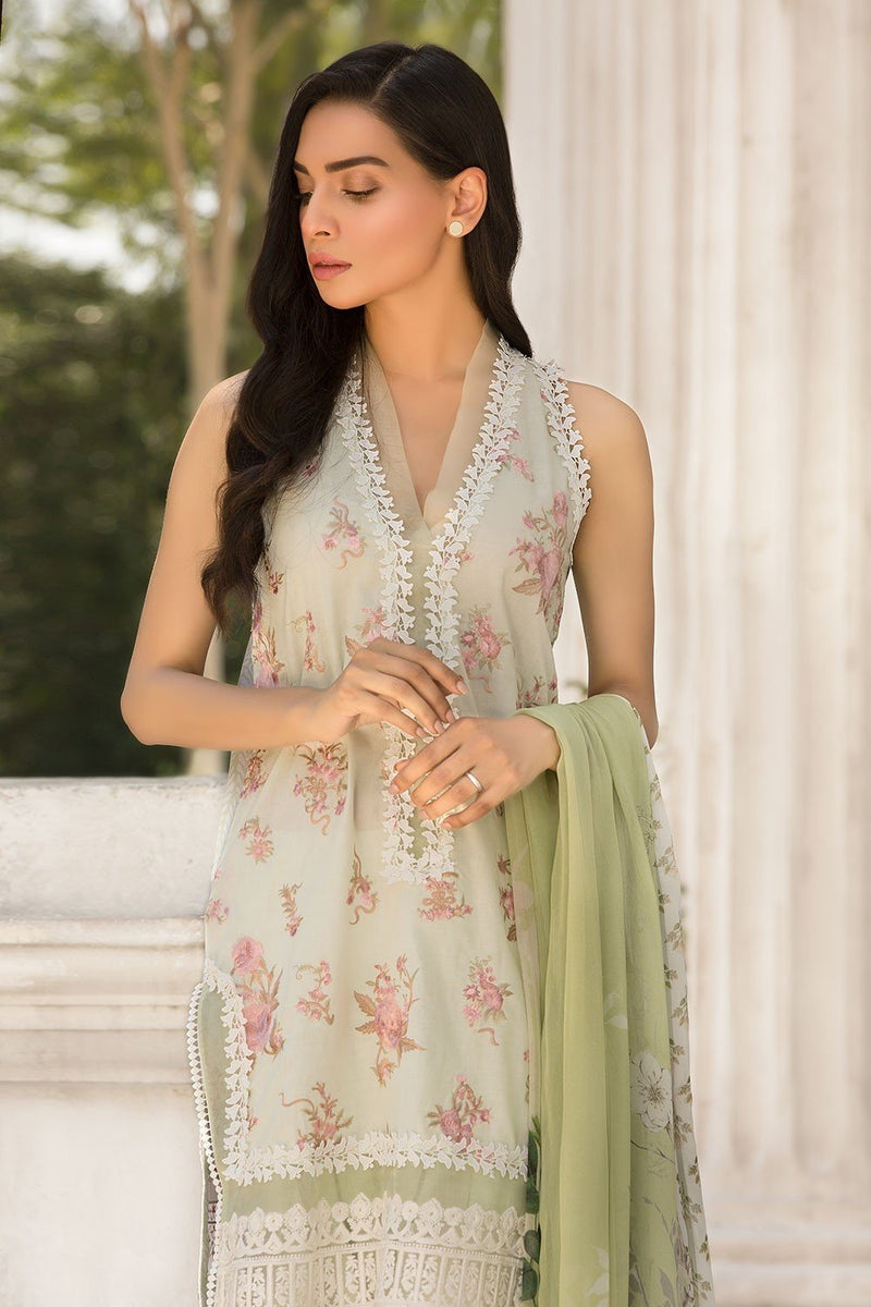 Sobia Nazir Vital Lawn suit 7B - Embroidered mint lawn shirt with blended chiffon dupatta