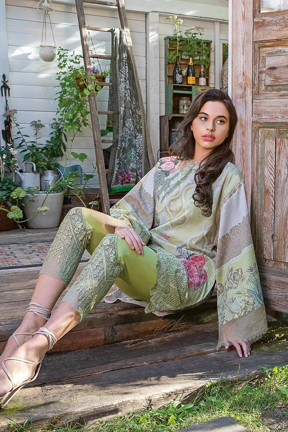 Sobia Nazir Winter 2018 suit 4A - Lime Green embroidered Satin kameez with embroidered trouser and printed shawl