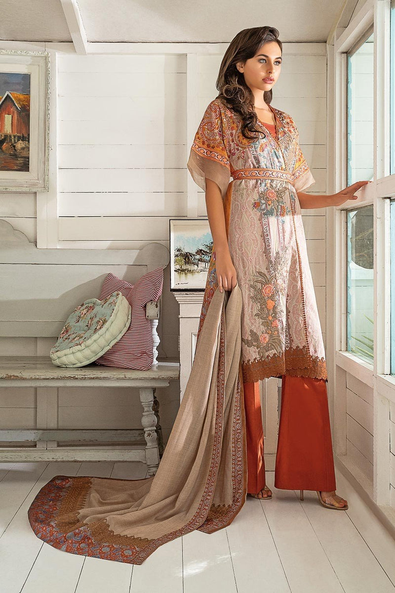 Sobia Nazir Winter Collection 2018 suit 5A - Embroidered peachy/rusty kameez with printed shawl with border