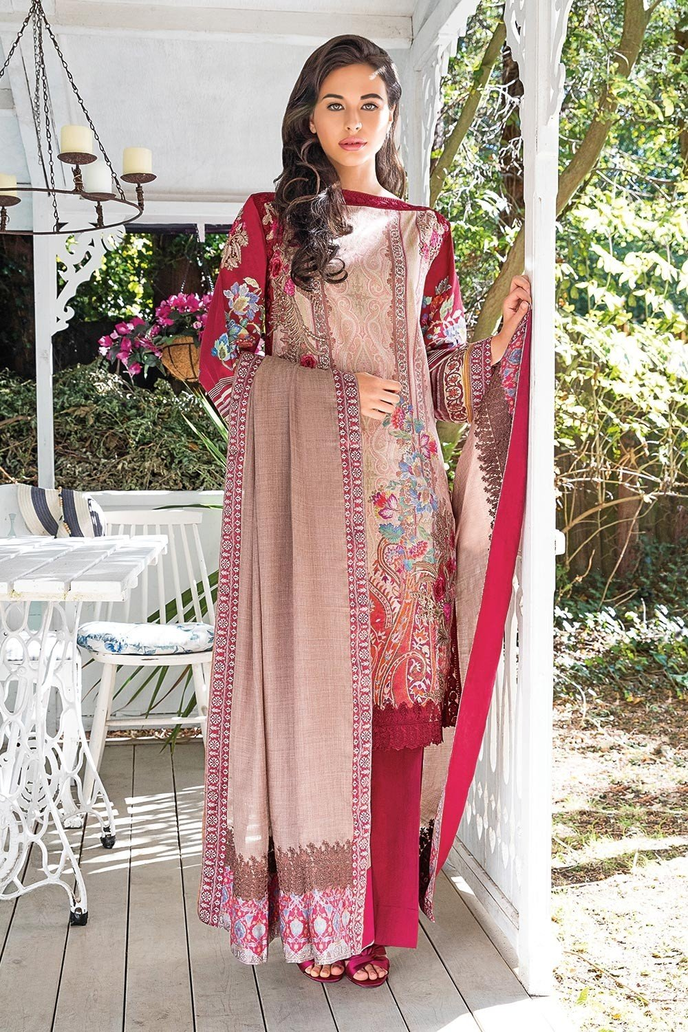 Sobia Nazir Winter Collection 2018 suit 5B - Embroidered Peachy/Pink kameez, dyed trouser and shawl with embroidered border