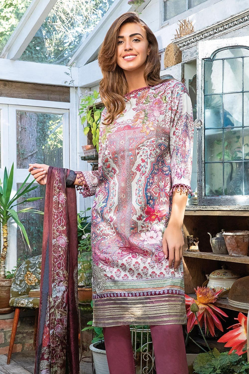 Sobia Nazir Winter Collection 2018 suit 6A - Embroidered Lilac kameez with printed silk dupatta