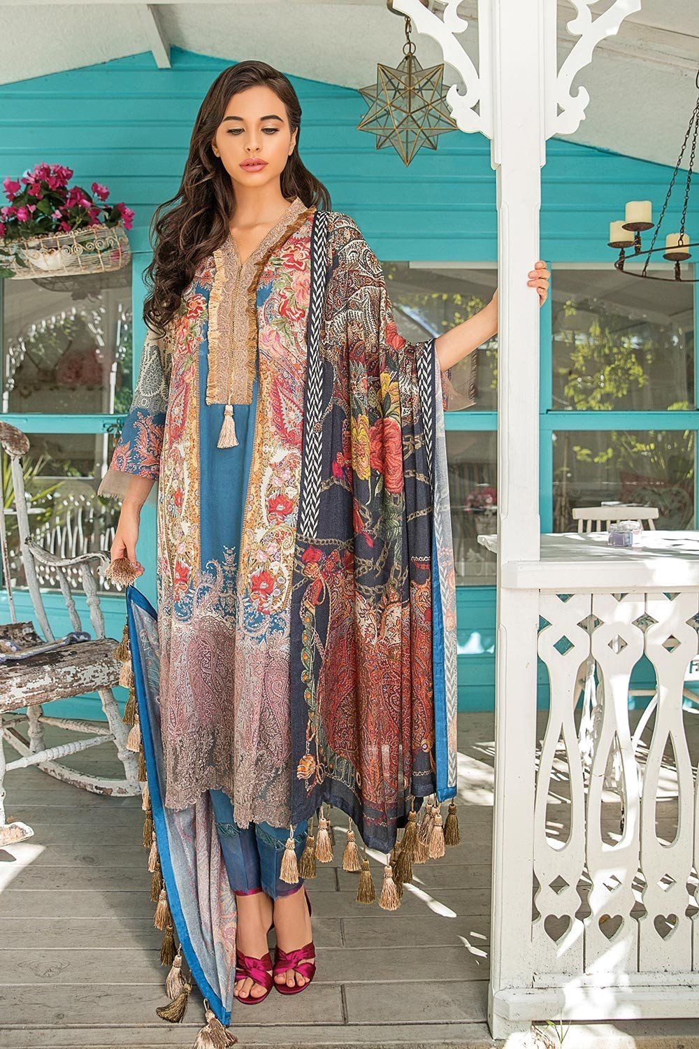 672f09de9a Sobia Nazir Winter 2018 suit 7B - Embroidered Blue Dobby Kameez, dyed  trouser with printed