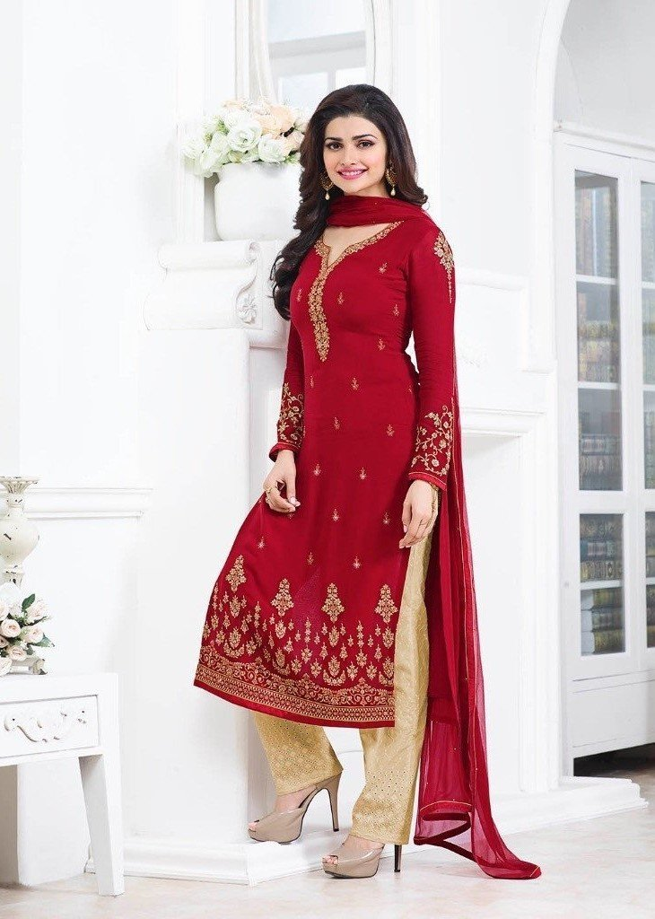 Vinay Kaseesh Prachi Georgette Red suit 5013