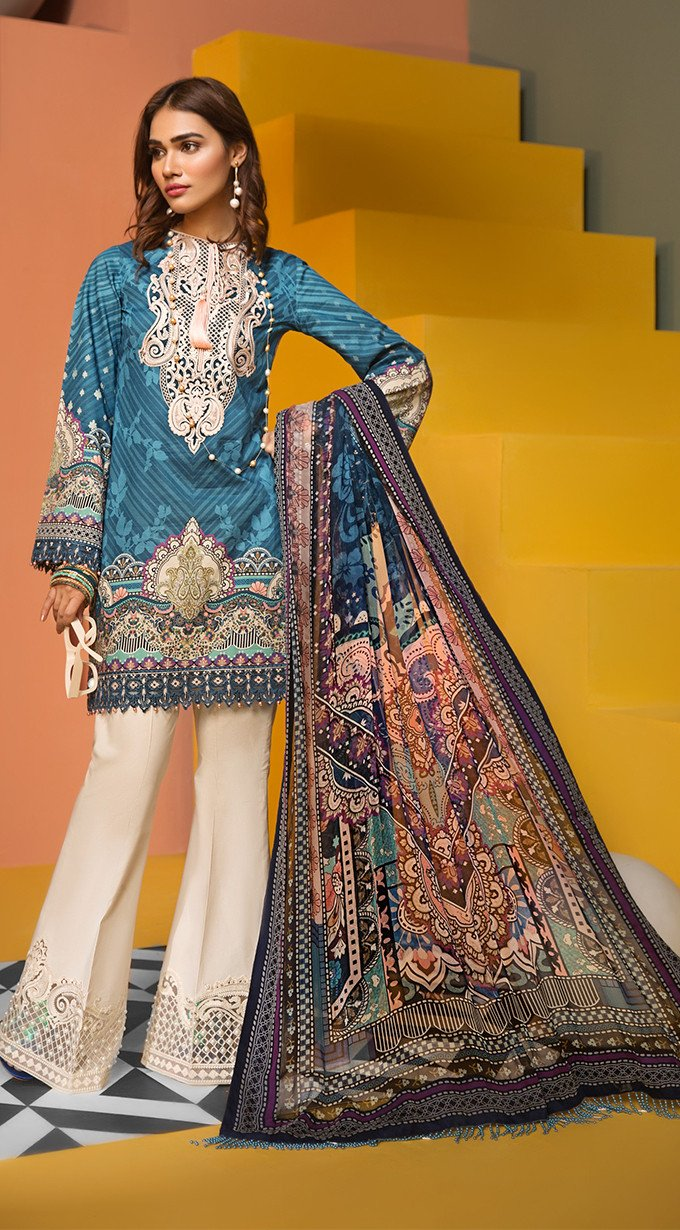 7a892d60ae Viva Anaya Lawn Collection 2019 suit VL19-07 - CLARA