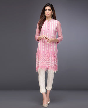 Xenia Formals Creppe Pink A 2018 - Pure Chiffon Pink Shirt with Embroidered Dupatta