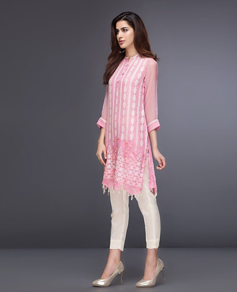 Xenia Formals Designer Kurti Creppe Pink A 2018 - Embroidered Shirt with Net Dupatta
