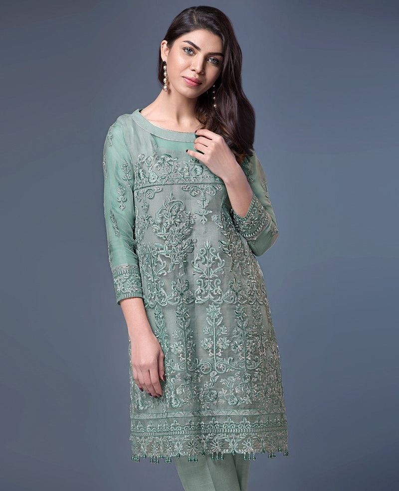Xenia Formals Embroidered Net Kurti designer Tuscan B 2018
