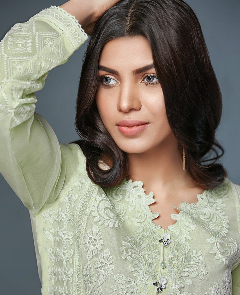 Xenia Formals Pure Chiffon Designer Spot On B - Embroidered kameez with Chiffon dupatta